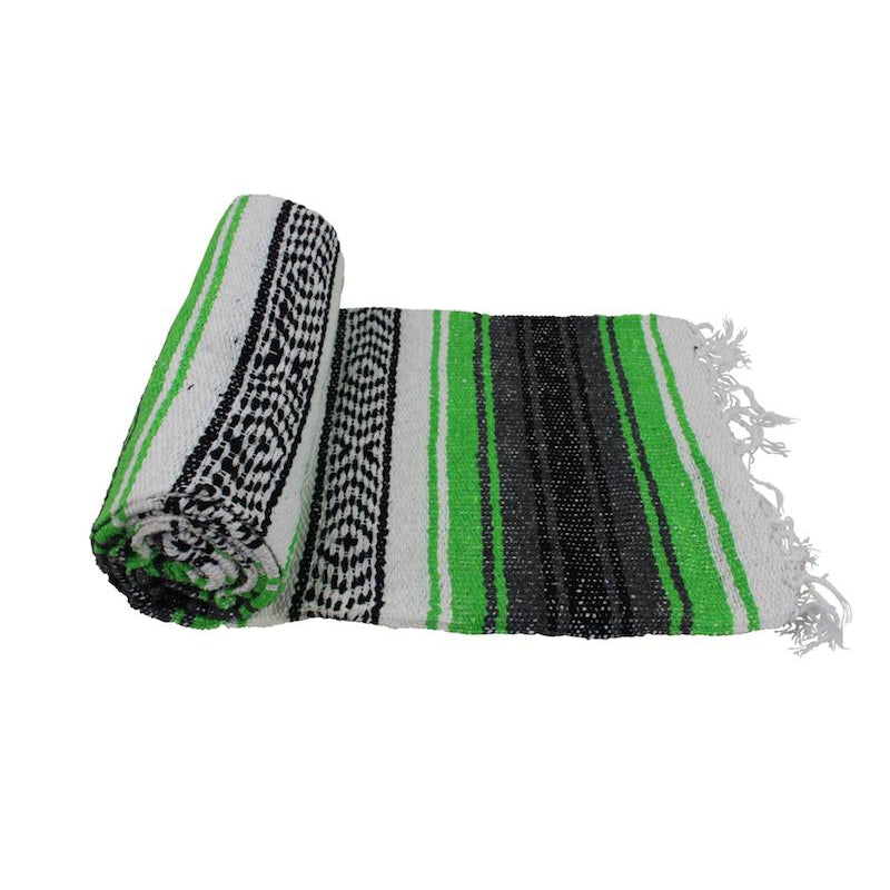 Mexican Western Yoga Falsa Blanket Lime and Grey - Colours of Mexico