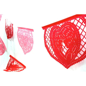 Mexican Bunting - Papel Picado Hearts Love (Red & Pink) - Colours of Mexico
