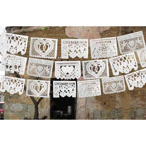 Mexican Bunting - Papel Picado: Wedding (all white) - Colours of Mexico