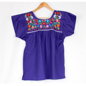 Mexican Embroidered Peasant Top Purple - Colours of Mexico