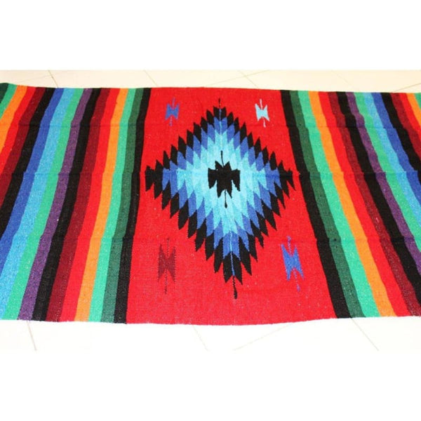 Mexican Floor Rug Aztec design Multicoloured: Red - Colours of Mexico