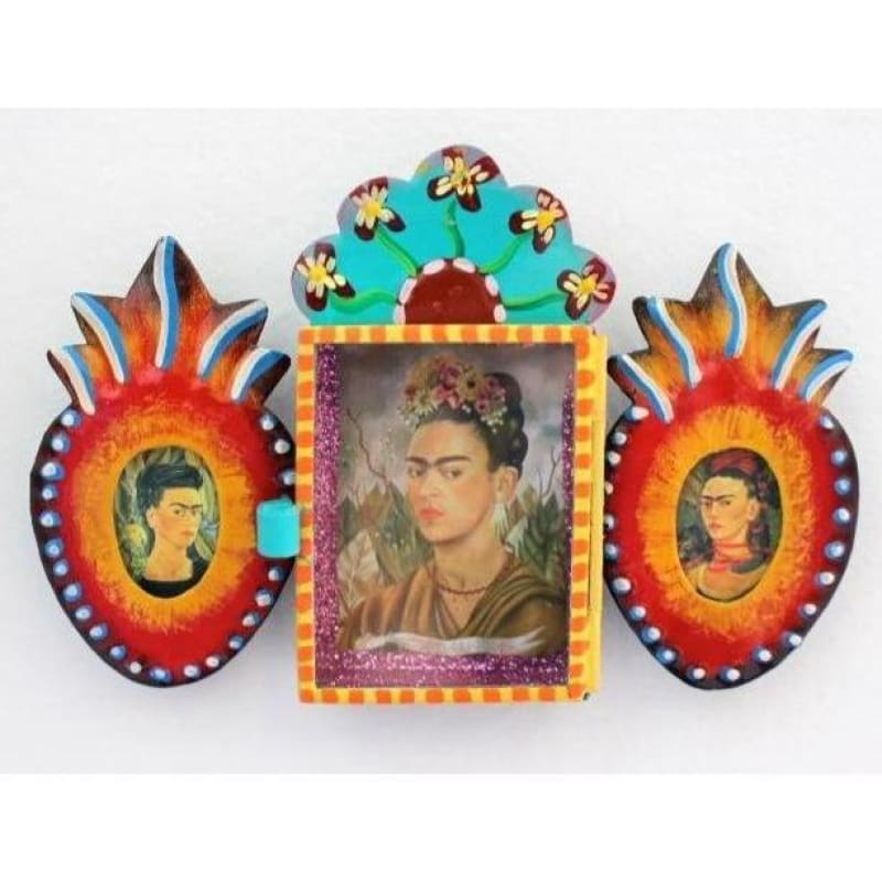 Mexican Frida Nicho Tin Hand painted with Hearts