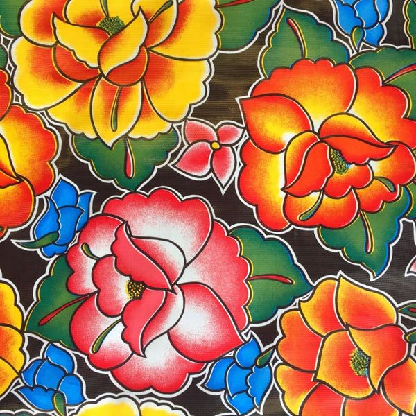 Mexican Oilcloth Fabric Oaxaca Black Flowers - Colours of Mexico