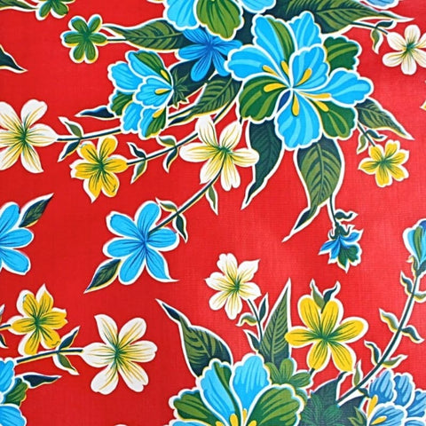 Mexican Oilcloth Fabric Red Hibiscus Flowers - Colours of Mexico