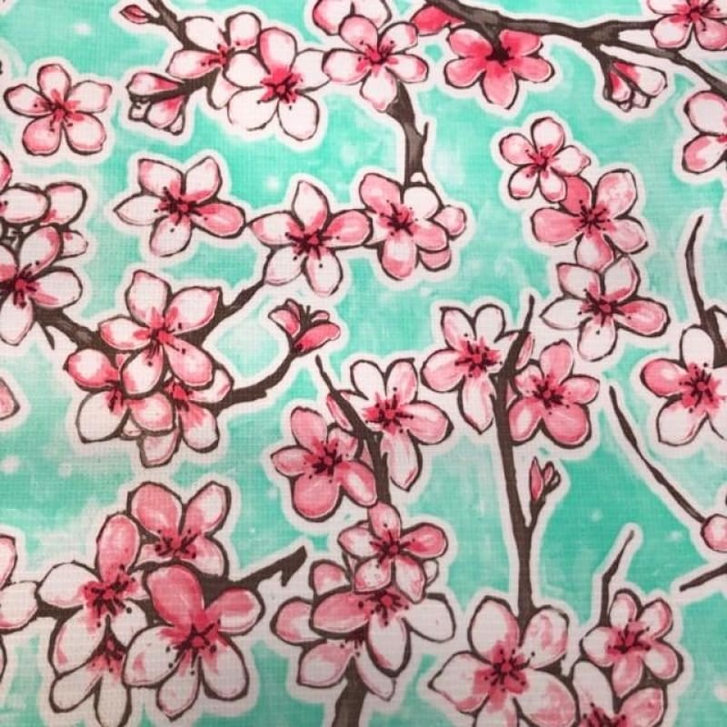 Mexican Oilcloth Fabric Sakura Japanese Flowers