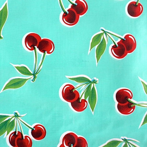 Mexican Oilcloth Fabric Turquoise Cherries - Colours of Mexico