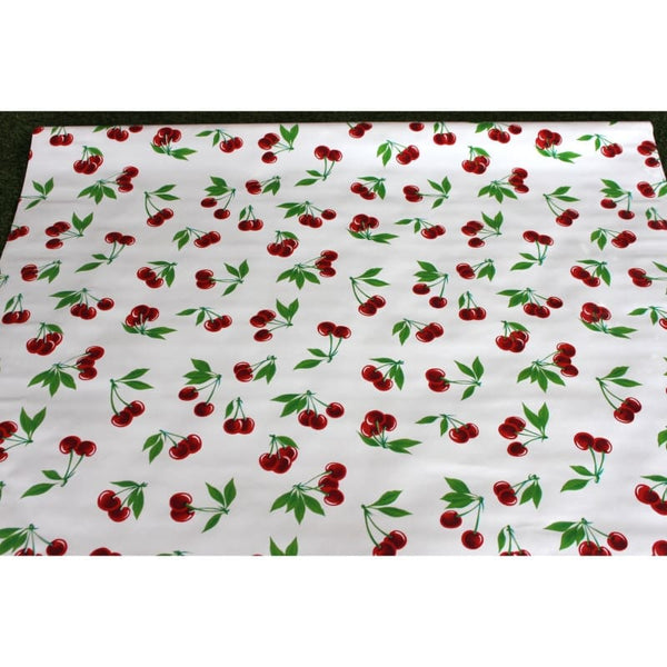 Mexican Oilcloth Fabric White Cherries - Colours of Mexico