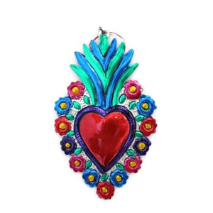 Mexican Tin Hearts - with flowers around - Colours of Mexico