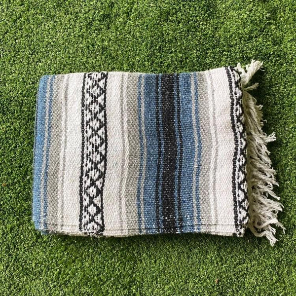 Mexican Western Yoga Falsa Blanket Blue and Grey