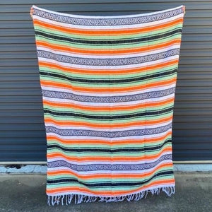 Mexican Western Yoga Falsa Blanket Orange & Mint