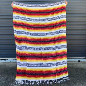 Mexican Western Yoga Falsa Blanket Red and Yellow
