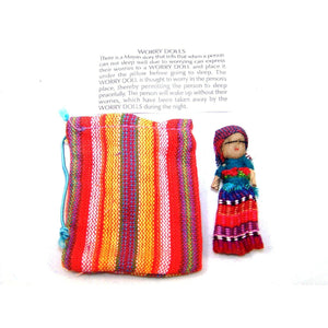 One Large Worry Doll in a Textile Pouch - Colours of Mexico