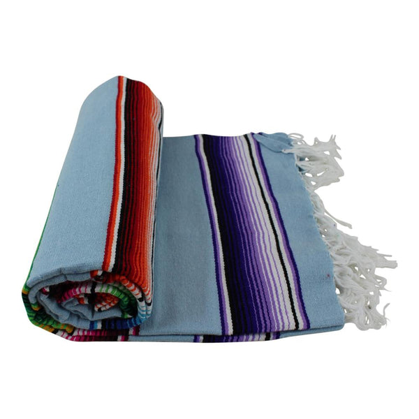 Pale Blue Mexican Sarape Blanket - Colours of Mexico
