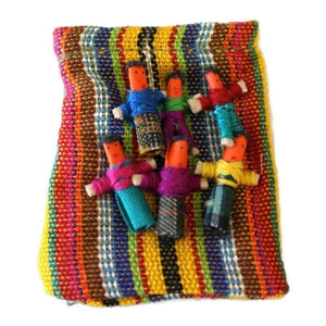 (Six) Mini Worry Dolls In A Textile Pouch - Colours of Mexico