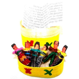 (Six) Mini Worry Dolls In A Traditional Wooden Box - Colours of Mexico