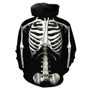 a748e3eca1db Men 3D Hoodies Skeleton Printed Drawstring Hoodie Casual Long Sleeve  Patterned Hooded Sweatshirt Pocket Pullover Hoody