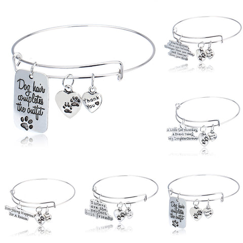 Pendant Charms Bangle Bracelet Family Girls Daughter Sisters Sis Dog Tag Cat Pet Paw