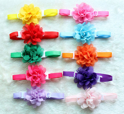 Chiffon Flowers Bow Ties  Asst Colors (50 pc/lot)