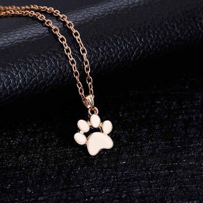 Cute Pets Dogs Pawprints Chain Pendant Necklace