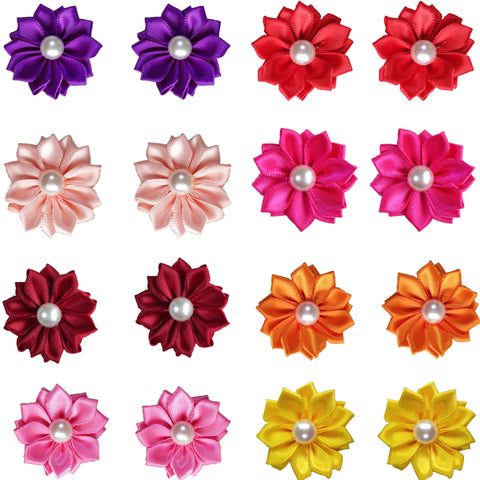 Petal Flower Bows with Pearls (100 pcs)
