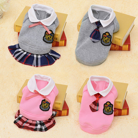 School Style Pet Dog & Cat Clothing