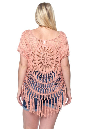 Plus Size Crochet Fringe Top Ashley Rae Boutique