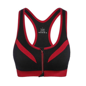 Front Zipper Wire-free Crop Top Gym Fitness Bra