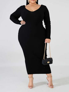 Women Plus Size Solid Color Deep V Neck Long Sleeve Glamorous Maxi Dress