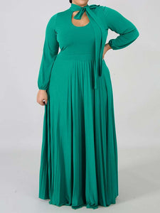 Hot-sale Plus Size Solid Color Long Sleeve Casual Maxi Dress