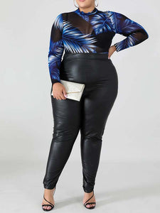 Women Plus Size Solid Color Casual PU Pant