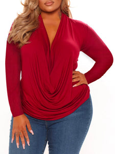 Women Plus Size Solid Color Off Shoulder Long Sleeve Elegant Sweaters