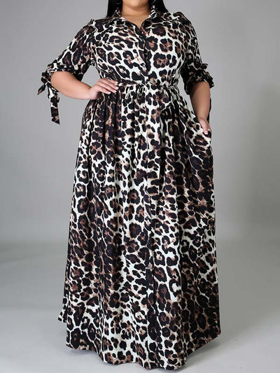 Plus Size Leopard Print 3/4 Sleeve Casual Maxi Dress
