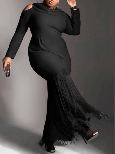 Women Plus Size Solid Color Off Shoulder Long Sleeve Elegant Maxi Dress