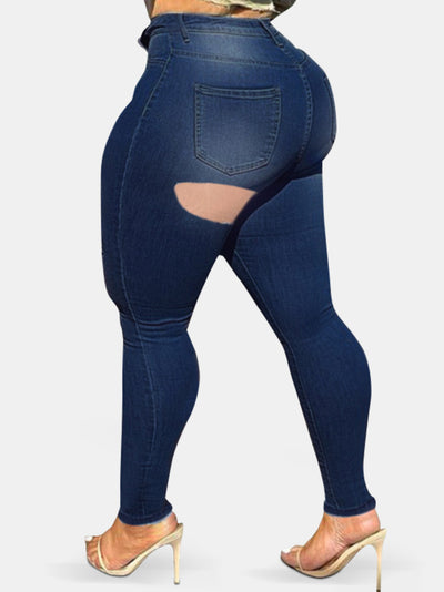 Plus Size Skinny Ripped Slim Stretch Denim Jeans