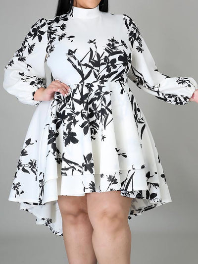 Plus Size Print Crew Neck Long Sleeve Mini Dress