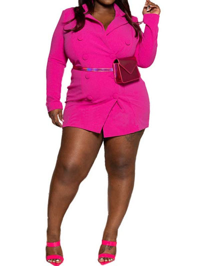 Women Plus Size Solid Color Long Sleeve Glamorous Mini Dress