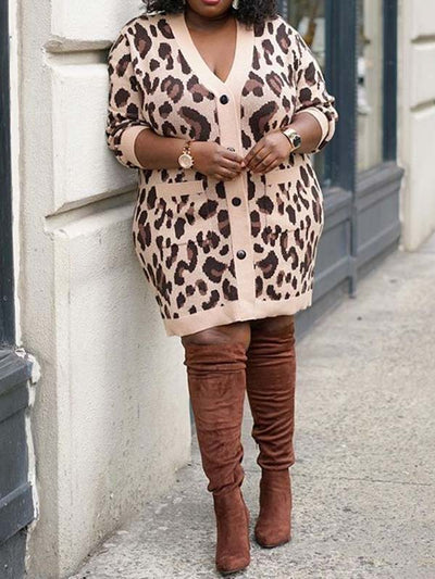 Women Plus Size Leopard Print V Neck Long Sleeve Casual Coat
