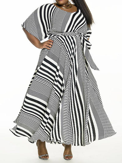 Plus Size Stripe Crew Neck Bat Sleeve Maxi Dress