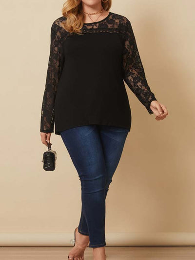 Women Plus Size Lace Patchwork Crew Neck Long Sleeve Casual Cardigans