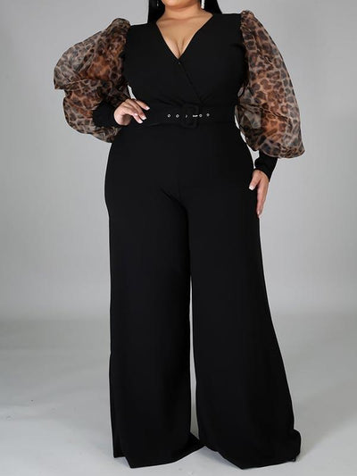 Plus Size Solid Color V Neck Lace Puff Sleeve Jumpsuit