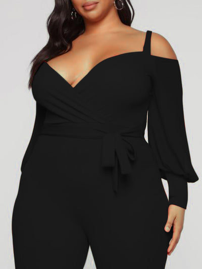 Plus Size Solid Color Cold Shoulder Jumpsuits
