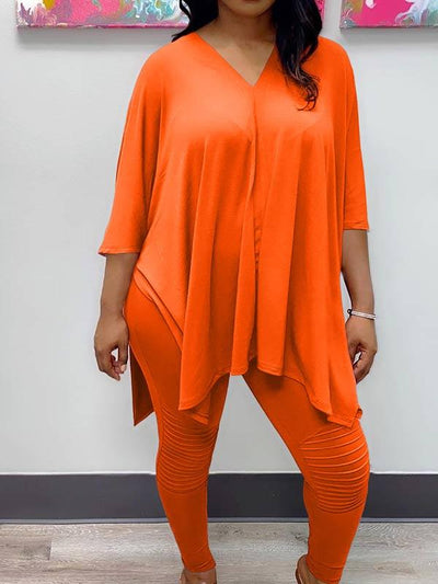 Women Plus Size V Neck Asymmetric Casual Two Piece Suits