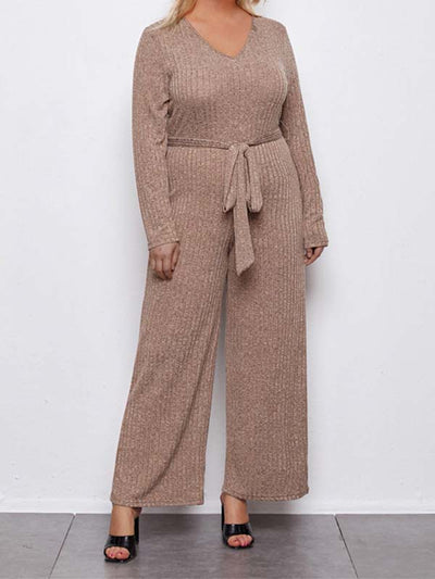 Women Plus Size V Neck Casual Home Style Jumpsuits
