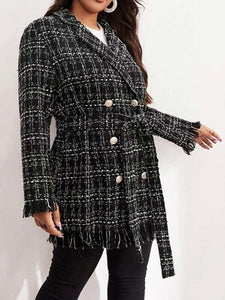 Women Plus Size Plaid Crochet Long Sleeve Casual Coat
