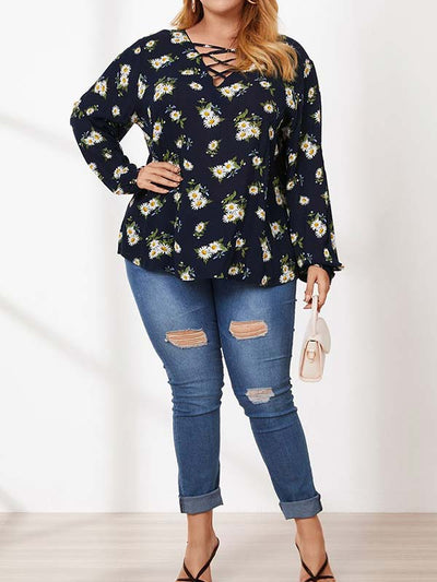 Women Plus Size Print V Neck Long Sleeve Casual Blouses