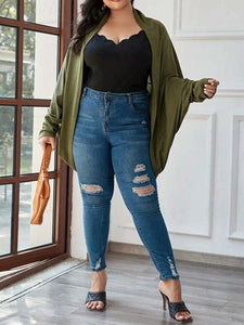 Women Plus Size Solid Color Long Sleeve Casual Coat