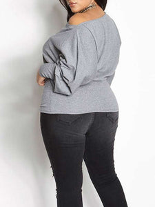 Women Plus Size Solid Color Long Sleeve Casual Underwear