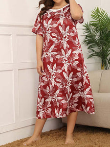 Women Plus Size Print Crew Neck Short Sleeve Home Style Maxi Dress