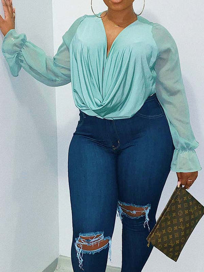 Women Plus Size Solid Color V Neck Long Sleeve Casual Blouses