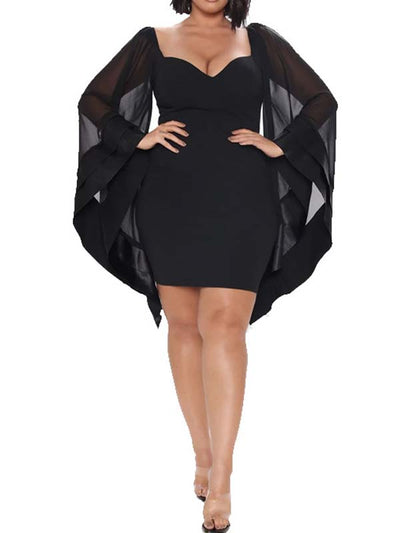 Women Plus Size Solid Color Bat Sleeve Casual Mini Dress